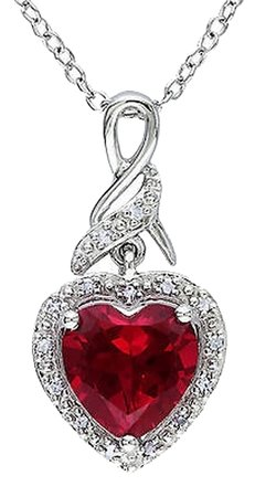 Other Sterling Silver 2.9 Ct Tw Diamond And Ruby Heart Love Pendant Necklace W Chain