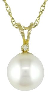 Other 10k Yellow Gold Freshwater Pearl Diamond Pendant 0.015 Ct J-k I3 17