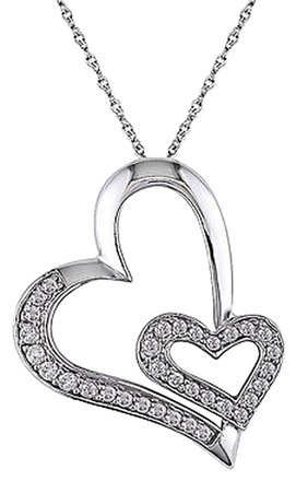Other 10k White Gold 14 Ct Diamond Tw Double Heart Love Pendant With Chain Gh I2i3