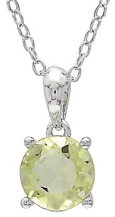 Other Sterling Silver 0.75 Ct Tw 6 Mm Round Lemon Quartz Solitaire Pendant With Chain