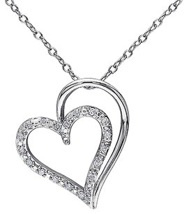 Sterling Silver 110 Ct Diamond Double Heart Pendant Necklace W Chain Gh I2i3