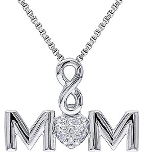 Sterling Silver Diamond Mom Infinity Love Heart Pendant Necklace W Chain