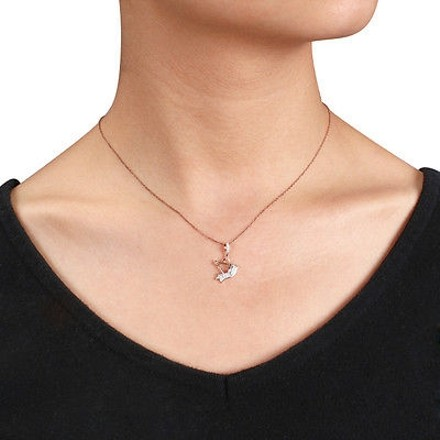 Other 10k Pink Gold 110 Ct Diamond Bird Pendant Necklace With 17 Chain Gh I2i3