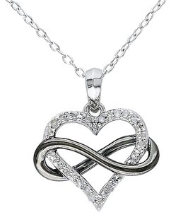 Other Sterling Silver 110 Ct Diamond Heart Infinity Love Two-tone Pendant Necklace