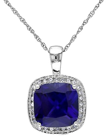 Other 10k White Gold 110 Ct Diamond 3 45 Ct Blue Sapphire Pendant Necklace Chain