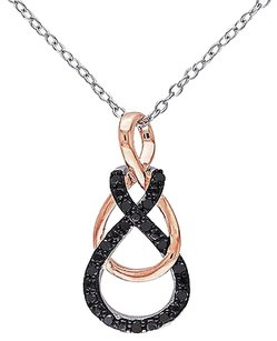Pink White Silver 16 Ct Black Diamond Swivel Infinity Two-tone Necklace 18