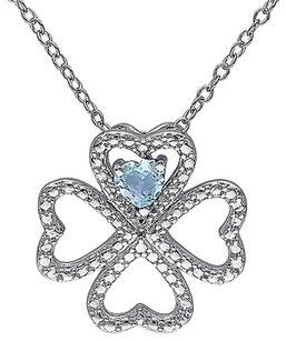 Silver 13 Ct Sky Blue Topaz Heart 4 Lucky Clover Nature Love Pendant Necklace