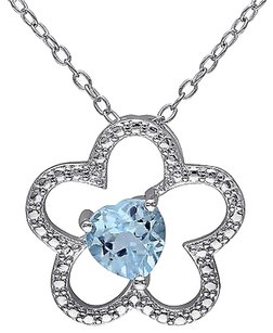 Other Sterling Silver 1 Ct Sky Blue Topaz Heart Love Flower Nature Pendant Necklace