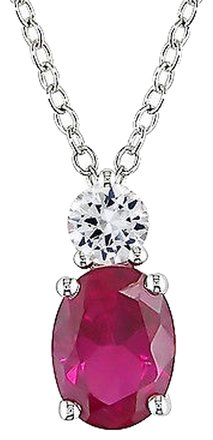 Other Sterling Silver Created Ruby And Created White Sapphire Fashion Pendant Necklace