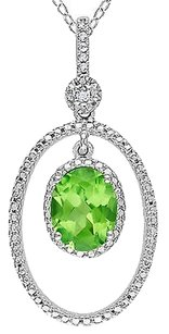 Sterling Silver Diamond And Peridot Pendant Necklace With Chain
