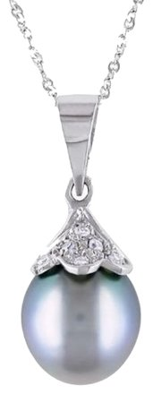 Other Black Pearl And Diamond Pendant With 14k White Gold Necklace 17 Inch Rope Chain