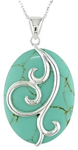 Sterling Silver Green Turquoise Pendant Necklace 18 Chain
