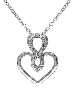 Other Sterling Silver Diamond Infinty Heart Love Crossover Swivel Pendant Necklace