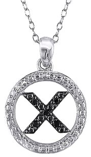 Other Sterling Silver Black Diamond Initials X Tone Pendant Necklace With Chain