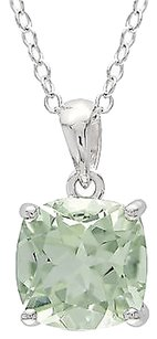 Other Sterling Silver 2 Ct Tw 8 Mm Cushion Green Amethyst Solitaire Pendant With Chain
