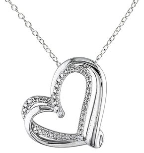 Sterling Silver Diamond Twisted Heart Pendant Necklace With Chain Gh I2i3 925