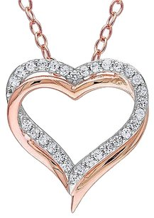 Pink Sterling Silver White Sapphire Interlocking Double Heart Pendant Necklace