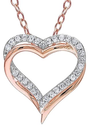 Other Pink Sterling Silver White Sapphire Interlocking Double Heart Pendant Necklace
