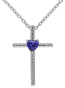 Other Sterling Silver 14 Ct Blue Sapphire Fashion Religious Pendant Necklace