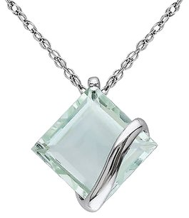 10k White Gold 2 14 Ct Tgw Green Amethyst Solitare Fashion Pendant With Chain
