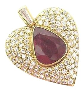 18kt Gem Ruby Diamond Multi Shape Yellow Gold Heart Pendant 6.83ct