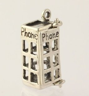 Phone Booth Dangle Pendant - 925 Sterling Silver Womens Fine Estate Charm Opens