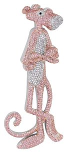 Other Pink Panther Pendant Pink White Simulated Diamonds Cartoon Character Kids Charm