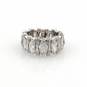 Platinum 5ct Marquise Baguette Diamonds Fancy Disign Eternity Band Ring