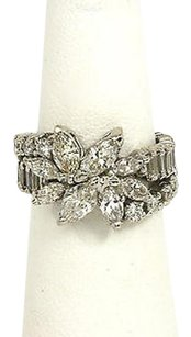 Other Platinum Cts Diamonds Floral Motif Ladies Eternity Dress Band Ring