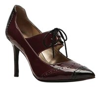Kelly & Katie Pointed Toe Stiletto BURGANDY BLACK FAUX PATENT Pumps