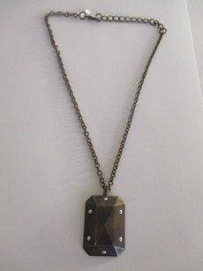 Other Pono By Joan Goodman Bronze Resin Rectangle Stud Pendant Necklace