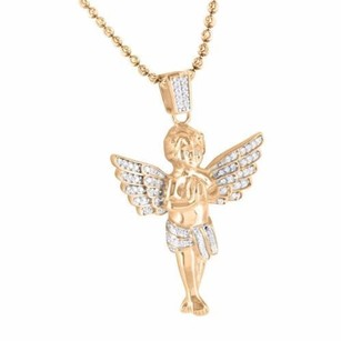 Praying Angel Pendant And Chain Rose Gold Finish Simulated Diamond .925 Silver