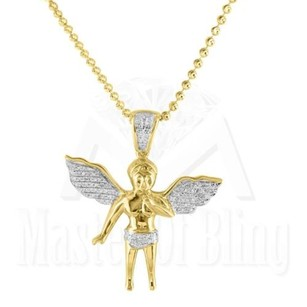 Praying Angel Pendant Yellow Gold Finish Chain Sterling Silver Genuine Diamond