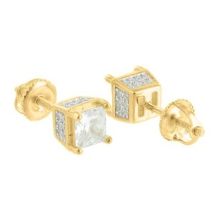 Princess Cut Earrings Screw Back Studs Gold Tone Sterling Silver Iced Out Classy