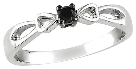 Other Sterling Silver Black Diamond Round Cut Promise Heart Bow Fashion Ring 110 Ct