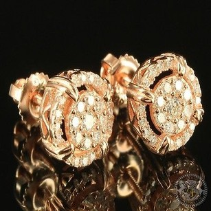 Prong Set Cluster Lab Diamond Rose Gold Finish Earring Screw On Studs Fashion