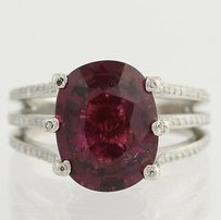 Purple Tourmaline Diamond Cocktail Ring - 950 Platinum 12 Genuine 5.56ctw