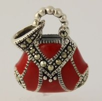 Purse Pendant - Sterling Silver Red Enamel Marcasites 925 Hand Bag Womens