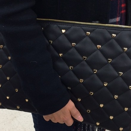 Other Quilted Heart Gold Hardware Cute Black Clutch