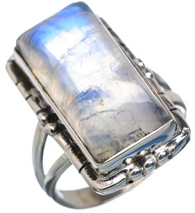 Rainbow Moonstone 925 Sterling Silver Ring Size 5.75