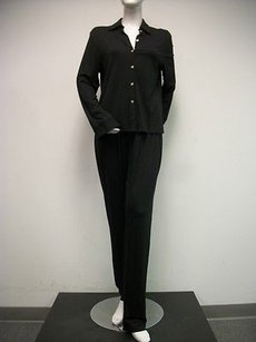 Rapps Black Knit Peice Outfit Pants Overblouse Jacket Set