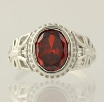 Other Red Cz Butterfly Ring - Chunky Cubic Zirconia Oval Solitaire Sterling Silver