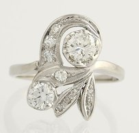 Retro Diamond Cocktail Ring - 14k White Gold 0.95ctw Leaf Design Vintage 1940s