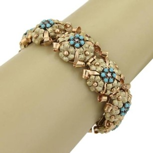 Other Retro Diamonds Turquoise 14k Yellow Rose Gold Textured Flower Bracelet