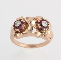 Retro Floral Cocktail Ring - 14k Rose Gold Genuine Diamonds Syn Rubies Flower