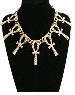 RIHANNA CHOICE, Ankh Cross Pendant Statment Necklace/ Choker