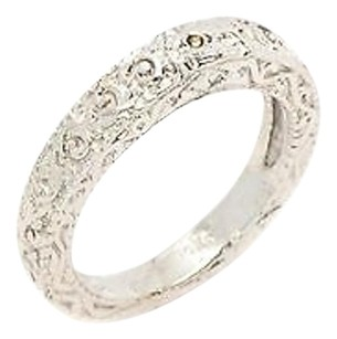 Ring 14k White Gold Swirl Design Accents 5.6 Grams Womens