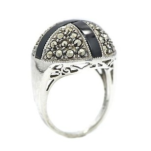 Ring Round Shape Marcasite Stones Sterling Silver With Black Cross Onyx Womens