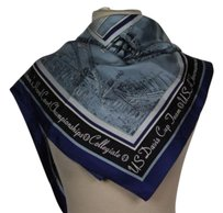 Other Roffe Accessories Inc Womens Ivory Blue Black Scarf One Silk