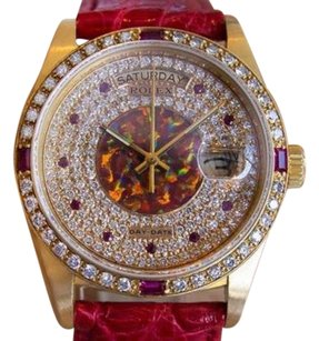Rolex Mens 1977 President 18038 Diamond Ruby 18k Solid Gold Watch 9201